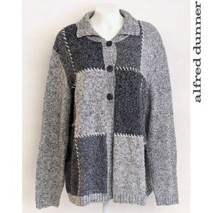 Alfred Dunner Vintage Women's Gray Patched Sweater